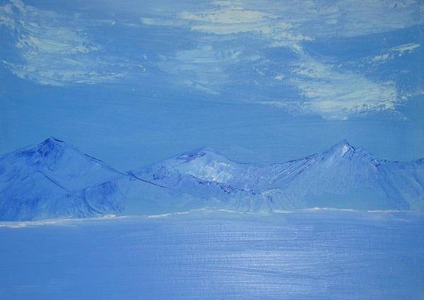 Mountains Art Print featuring the painting Blue Landscape by Liz Vernand