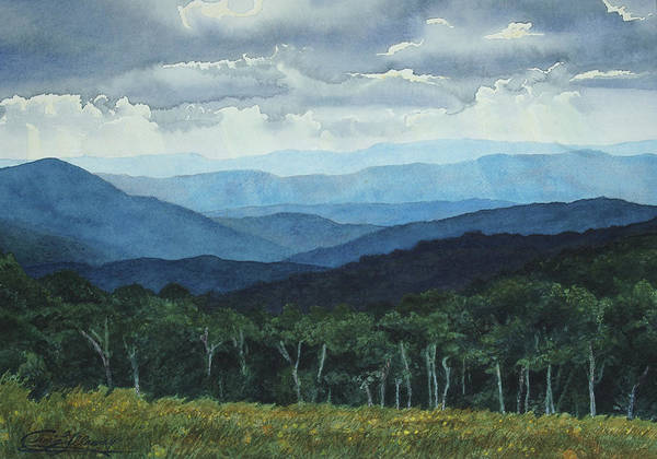 Blue Ridge Mountains Art Print featuring the painting Blue Ridge From Grassy Bald Study by Craig Gallaway