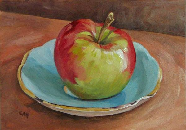 Still Life Art Print featuring the painting Blue Saucer With Apple by Cheryl Pass