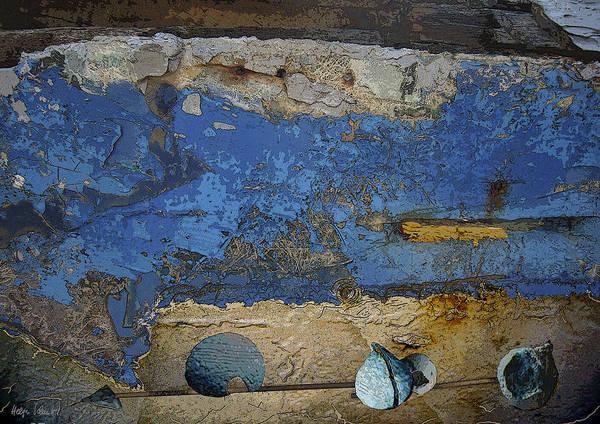 Photopainting Art Print featuring the digital art Blue Wall by Helga Schmitt