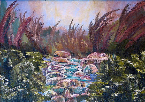 Water Art Print featuring the painting Blue Water by Laura Tveras