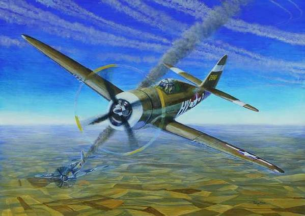 Bob Johnsons P-47 On October 10 Art Print featuring the painting Bob Johnsons Thunderbolt by Scott Robertson