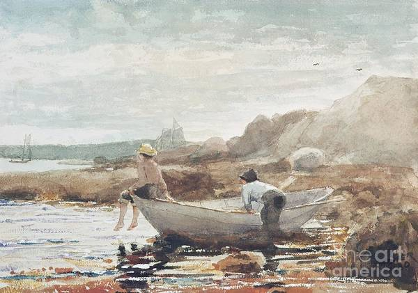Boys On The Beach (w/c On Paper) By Winslow Homer (1836-1910) Rowing Boat; Fishing; Boy; Male; Children; Child; Playing; Summer; Coast; Coastal; Rocks; Rocky; Boat Art Print featuring the painting Boys On The Beach by Winslow Homer