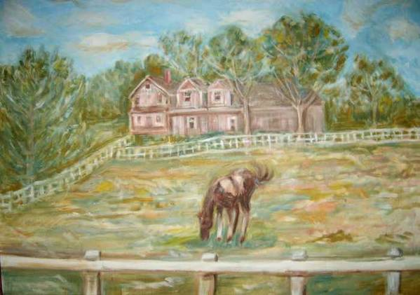 Horse Field House Fence Landscape Animal Trees Art Print featuring the painting Brown And White Horse by Joseph Sandora Jr