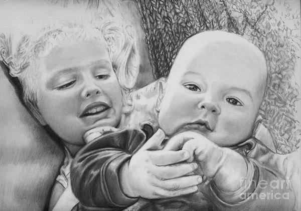 Babies Art Print featuring the drawing Brynn And Austin by Carliss Mora