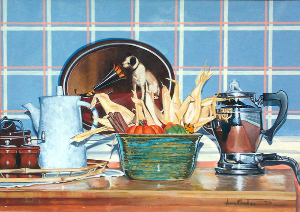Still Life Art Print featuring the painting Buffet Still Life by Anne Rhodes
