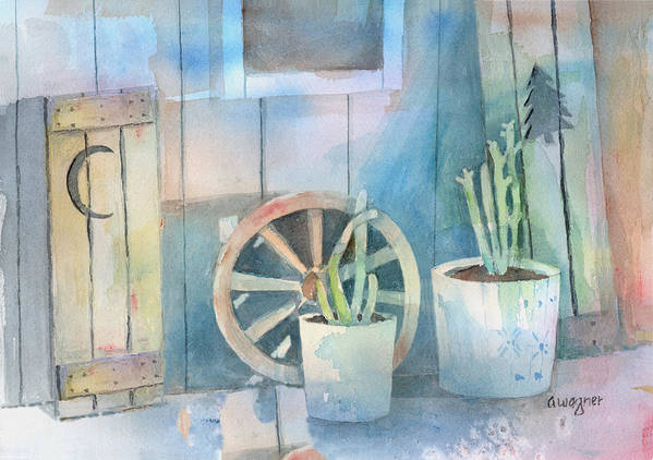 Shed Art Print featuring the painting By The Side Of The Shed by Arline Wagner