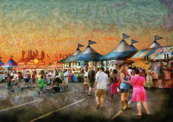 Suburbanscenes Print featuring the photograph Carnival - Who Wants Gyros by Mike Savad