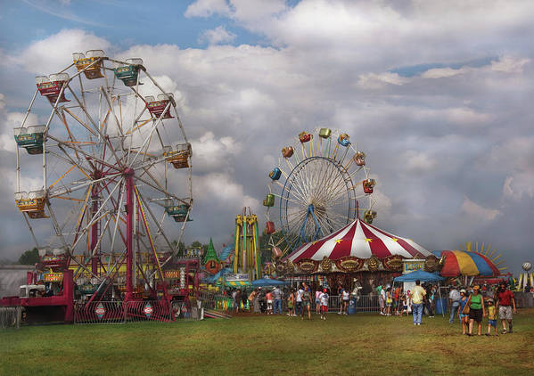 Savad Art Print featuring the photograph Carnival - Traveling Carnival by Mike Savad