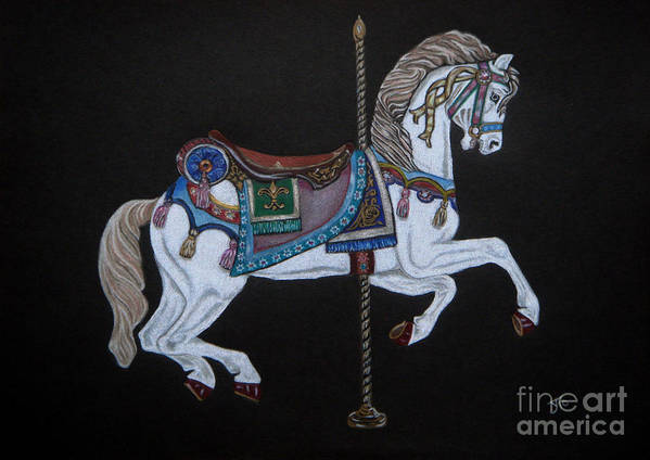 Carousel Horse Art Print featuring the drawing Carousel Horse by Yvonne Johnstone
