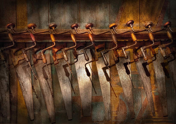 Hdr Art Print featuring the photograph Carpenter - Saws And Braces by Mike Savad