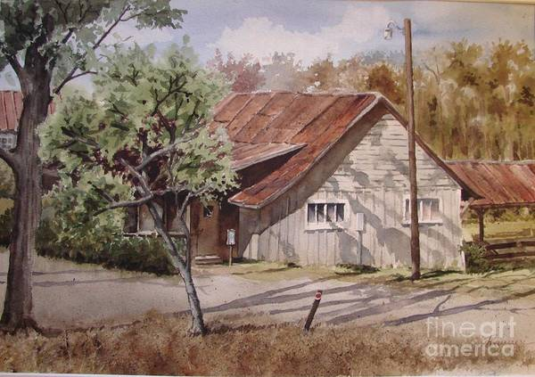 Wooden Building Art Print featuring the painting Carver's Studio by Oscar Rayneri