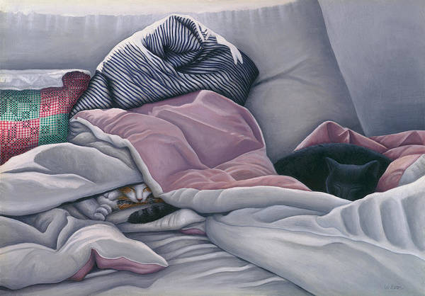 Black Cat Art Print featuring the painting Cats Hide In Blankets by Carol Wilson
