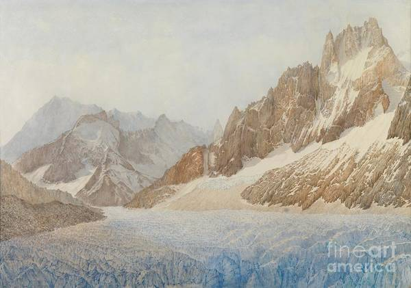 The Mer De Glace Art Print featuring the painting Chamonix by SIL Severn