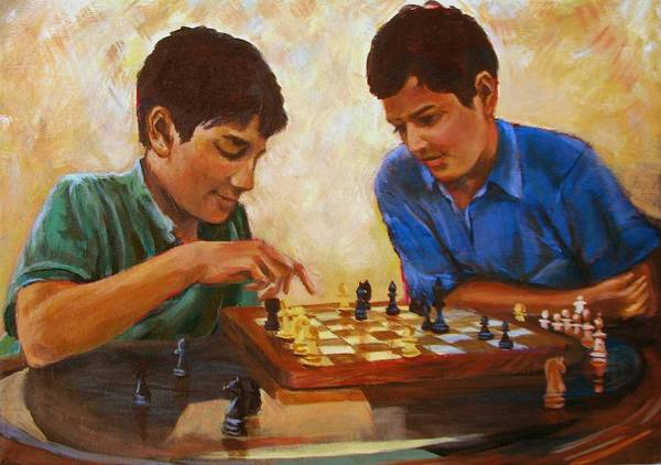 Chess Art Print featuring the painting Check by Art Nomad Sandra Hansen
