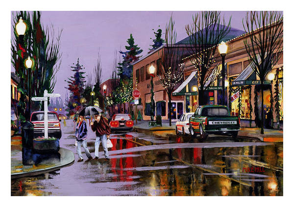 Christmas Lights Rain Holiday Eve Shopping Reflections Decorations Art Print featuring the painting Christmas On Main Street by Mike Hill