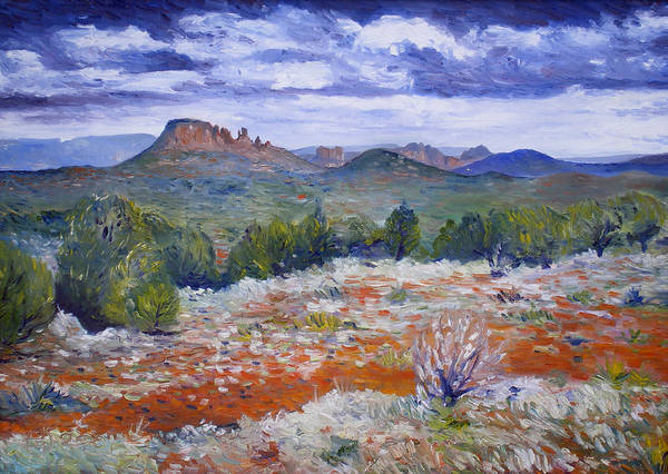 Sedona Arizona Art Print featuring the painting Cockscomb Butte West Sedona Arizona Usa 2002 by Enver Larney