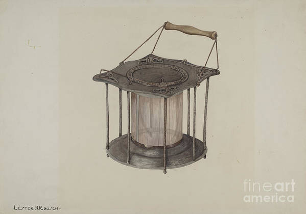Art Print featuring the drawing Combined Stove And Lantern by Lester Kausch