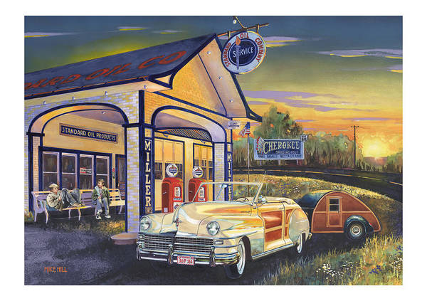 1948 Chrysler Woody Route 66 Tear Drop Trailer Teardrop Sunset Cherokee Standard Station Convertable Art Print featuring the painting Come Get Your Kicks by Mike Hill
