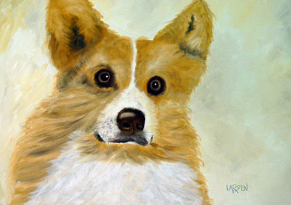 Art Print featuring the painting Corgi by Dick Larsen