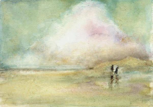 Beach Scene Art Print featuring the print Corolla Beach Stroll by Donna Elio