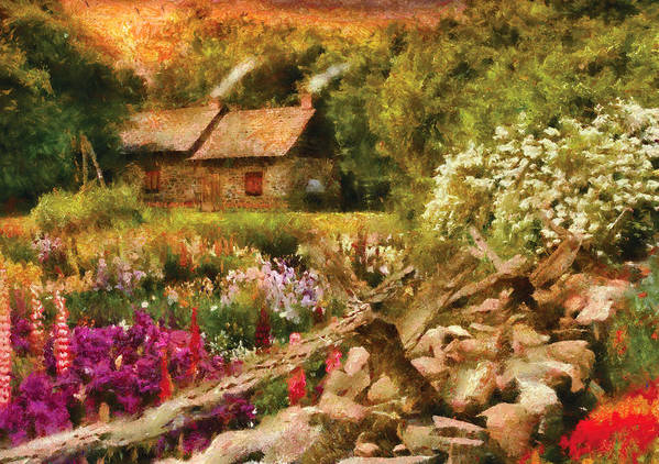 Savad Art Print featuring the photograph Cottage - There's No Place Like Home by Mike Savad