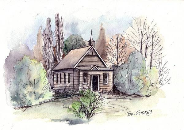 Church Art Print featuring the painting Country Church by Val Stokes