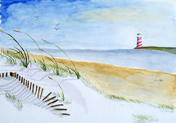 Beach Art Print featuring the painting Cove With Lighthouse by Robert Thomaston
