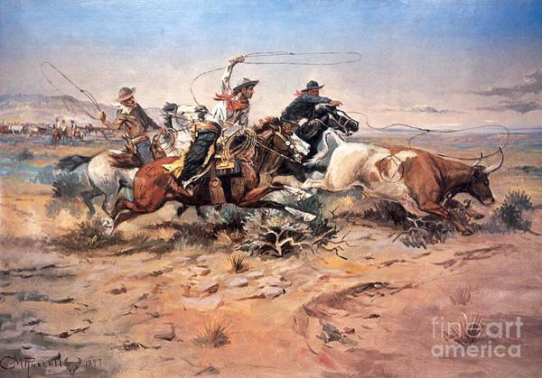 Cowboys Art Print featuring the painting Cowboys Roping A Steer by Charles Marion Russell