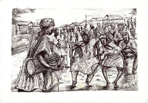 Dance Art Print featuring the drawing Cultural Dance by Wale Adeoye