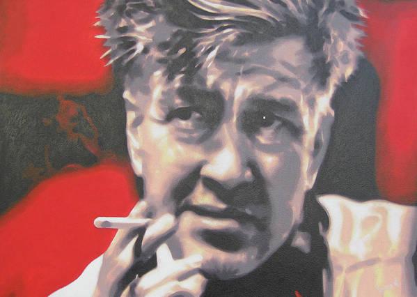 Laura Palmer Art Print featuring the painting David Lynch by Luis Ludzska