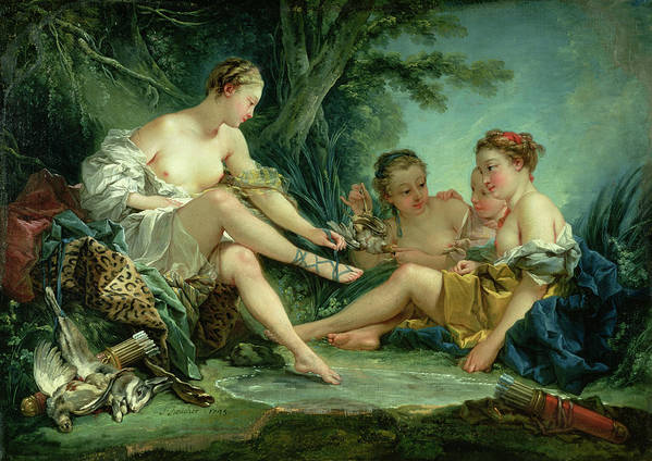 Diana Art Print featuring the painting Diana After The Hunt by Francois Boucher