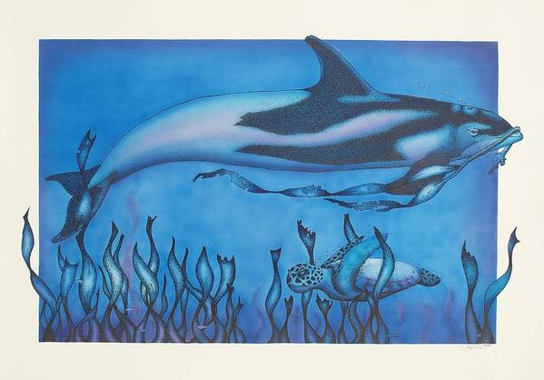 Dolphins Art Print featuring the drawing Dolphin And Turtle by Erik Loiselle