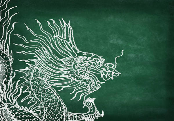 2012 Art Print featuring the photograph Dragon On Chalkboard by Setsiri Silapasuwanchai