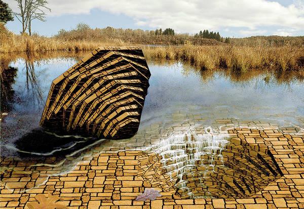 Drain Art Print featuring the digital art Drain - Mendon Ponds by Peter J Sucy