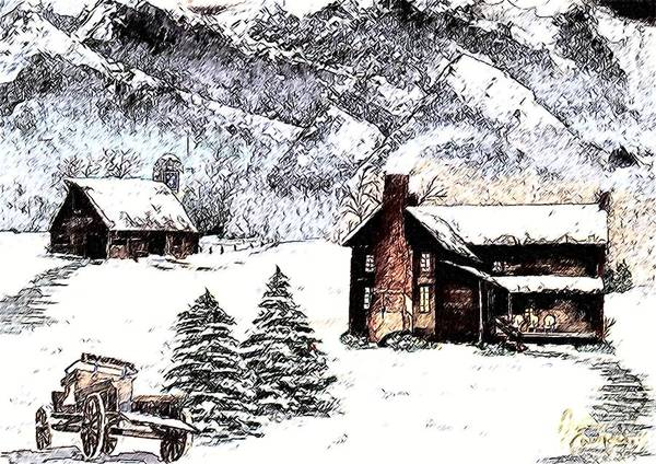 Landscape Art Print featuring the painting Early Snowfall by Penny Everhart