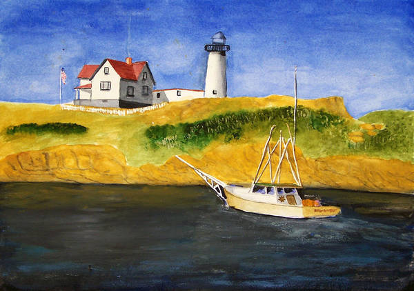Lighthouse Art Print featuring the painting East Coast Lighthouse With Crab Boat by Robert Thomaston