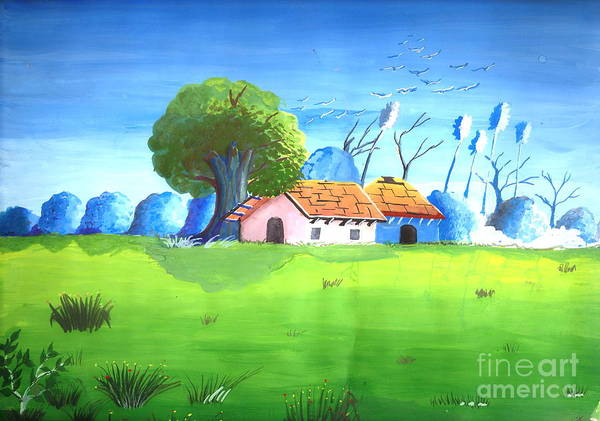 Sceenery Art Print featuring the painting Eco Friendly Environment 1 by Archit Singh