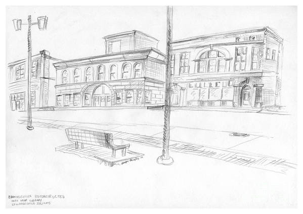 Structure Art Print featuring the drawing Edwardsville Reconstructed by Joseph A Langley