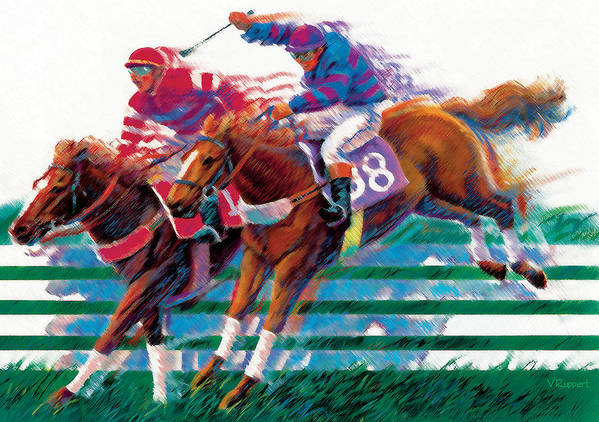 Equestrian Art Print featuring the pastel Equestrians by Lash Larue