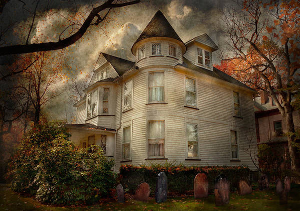 Victorian Print featuring the photograph Fantasy - Haunted - The Caretakers House by Mike Savad