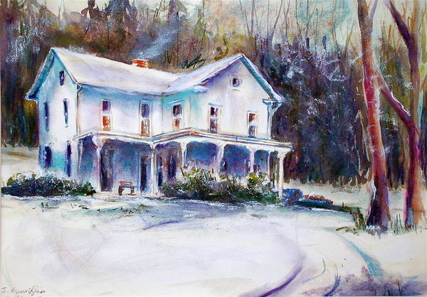 Landscape; Farm House Art Print featuring the painting Farm House by Joyce A Guariglia