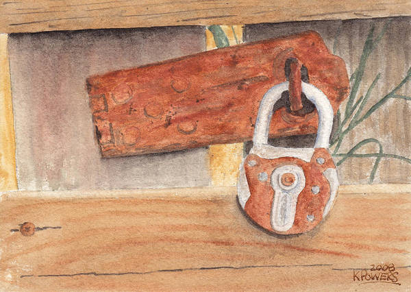 Fence Art Print featuring the painting Fence Lock by Ken Powers