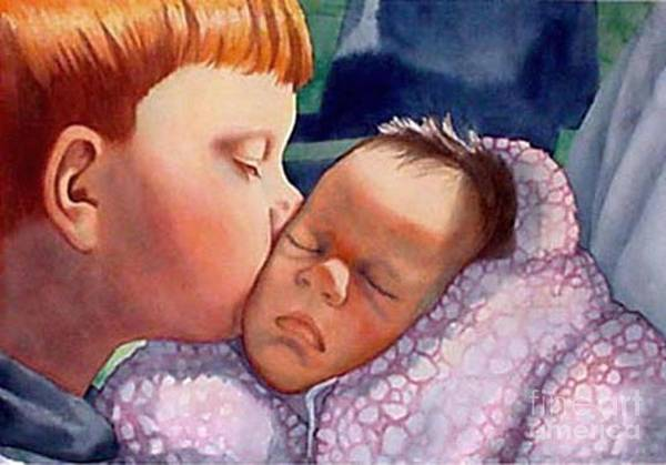 Portrait Art Print featuring the painting First Kiss by Gail Zavala