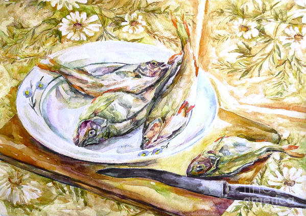 Fish For Dinner Art Print featuring the painting Fish For Dinner. by Liliya Chernaya
