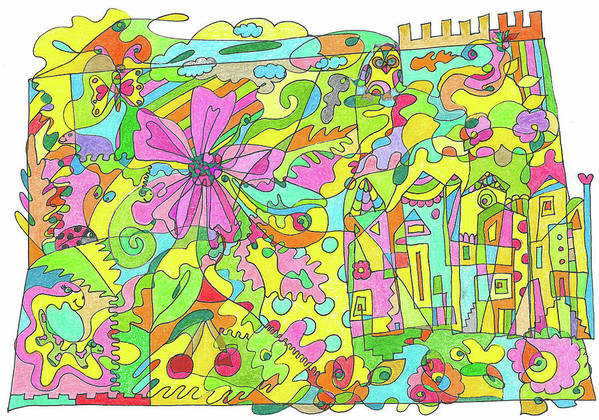 Flowers Art Print featuring the drawing Floral World by Branislava Gajic