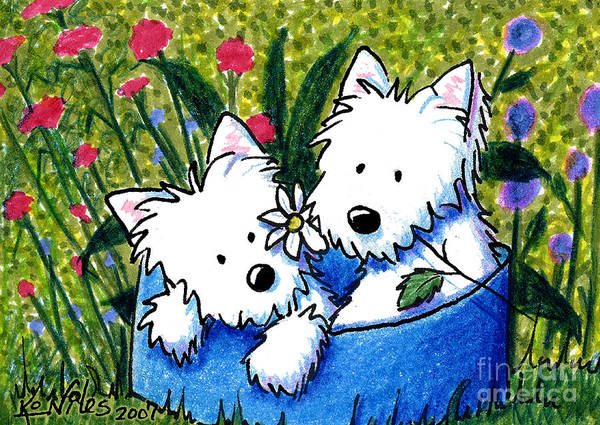 Dog Art Print featuring the painting Flower Bed Westies by Kim Niles