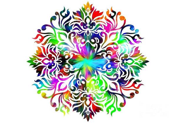 Colorful Art Print featuring the digital art Flower Mandala 4 by Camryn Zee Photography