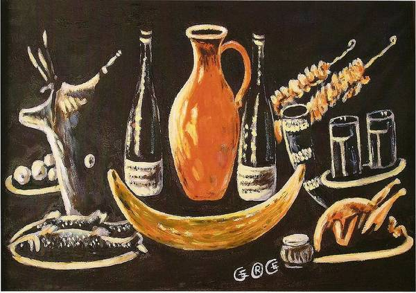 Food Art Print featuring the painting Food And Wine by George I Perez
