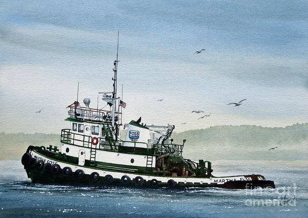 Tugs Art Print featuring the painting Foss Tugboat Martha Foss by James Williamson